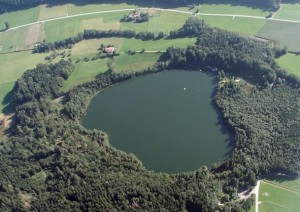 aerial view Tuettensee meteorite crater